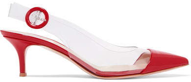 Gianvito Rossi 55 Pvc And Patent-leather Slingback Pumps - Red