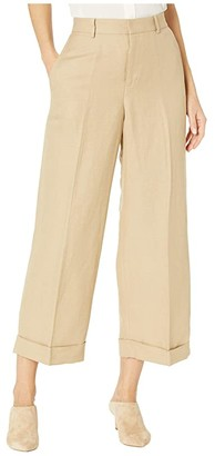 Lauren Ralph Lauren Linen-Blend Wide-Leg Pants (Birch Tan) Women's Casual Pants