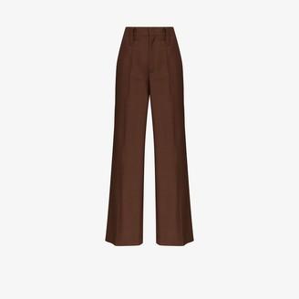 Prada Wide Leg Mohair Wool Trousers