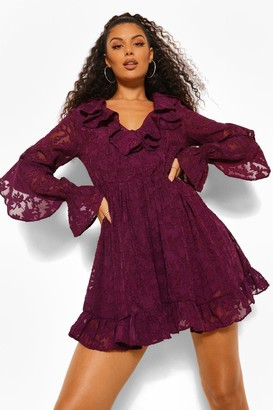 boohoo Lace Ruffle Detail Skater Dress
