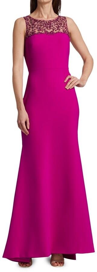 Theia Eva Embellished Trumpet Dress