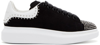 Alexander McQueen SSENSE Exclusive Black Suede Studded Oversized Sneakers