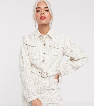 Asos DESIGN Petite exaggerated sleeve boucle suit blazer with pocket detail-White