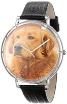 Whimsical Watches Women's T0130042 Golden Retriever Black Leather And Silvertone Photo Watch