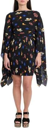SOLACE London Chanton Floral-print Plisse-crepe Dress