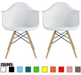 2xhome - Set of Two (2) White - Eames Style Armchair Natural Wood Legs Eiffel Dining Room Chair - Lounge Chair Arm Chair Arms Chairs Seats Wooden Wood Leg Wire Leg