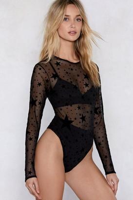 Nasty Gal Womens How Star Will You Go Sheer Bodysuit - Black - 8, Black