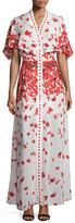 Alexis Jeannie Poppy-Print Cape Maxi Dress