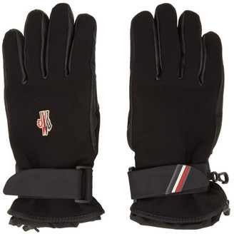 MONCLER GRENOBLE Black Leather Palm Gloves