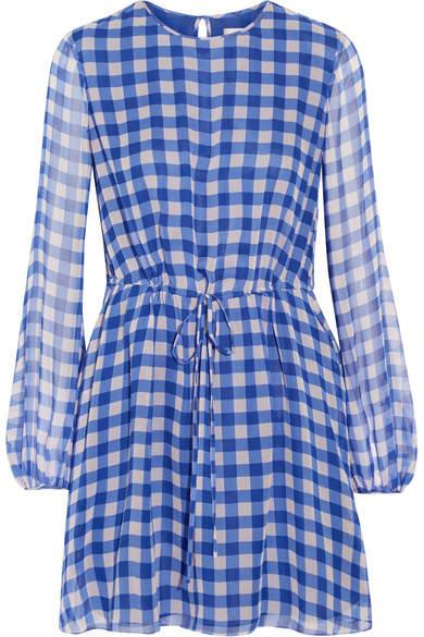 Diane von Furstenberg Gingham Silk-chiffon Mini Dress - Blue