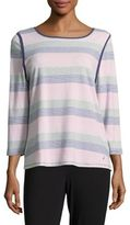 Nautica Striped Cotton-Blend Pajama Top