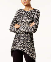 INC International Concepts I.n.c. Leopard-Print Handkerchief-Hem Tunic Sweater, Created for Macy's