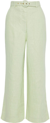 Zimmermann Corsage Crop Belted Linen Wide-leg Pants