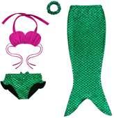 HOUZI Little Girls 3 Pcs Shiny Princess Mermaid Swimmable Bikini Set Swimwear