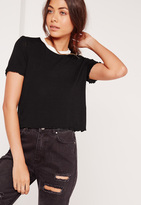 Missguided Lettuce Hem Cropped T-Shirt Black