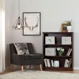 South Shore Morgan 3-Shelf Bookcase with 2 Canvas Storage Baskets in Royal Cherry