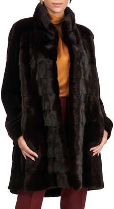 Gorski Horizontal Mink Jacket with Sheared Sleeves