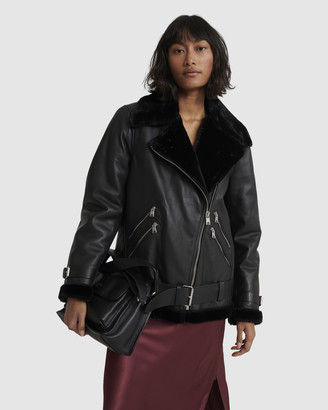 Superdry Edit Leather Aviator Jacket