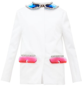 Christopher Kane Pvc-collar And Pocket Satin Jacket - Womens - White