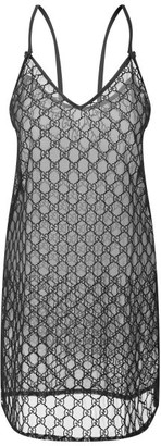 Gucci GG-jacquard Tulle Slip Dress - Black