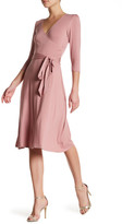 Bobeau Knit Solid Wrap Dress