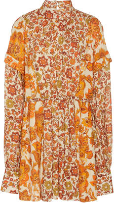 Dodo Bar Or Erin Pleated Printed Crepe Mini Dress
