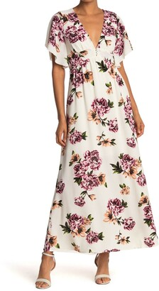 Bailey Blue Floral Kimono Sleeve Maxi Dress