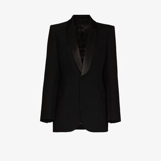 Wardrobe NYC Single-Breasted Wool Tuxedo Blazer