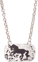 Silvertone & Black Hammered Galloping Horse Pendant Necklace