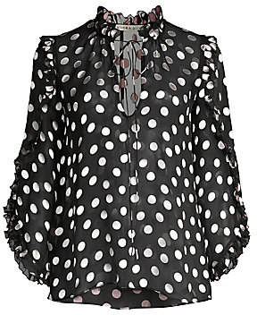 Alice + Olivia Women's Julius Polka Dot Silk-Blend Ruffle-Sleeve Blouse