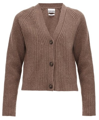 Ganni V-neck Ribbed Recycled-wool Blend Cardigan - Brown