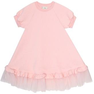 Fendi Kids Tulle-trimmed cotton-blend dress
