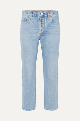 Gold Sign The Low Slung Cropped Mid-rise Straight-leg Jeans - Light denim