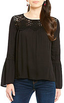 Jolt Lace Bell Sleeve Blouse