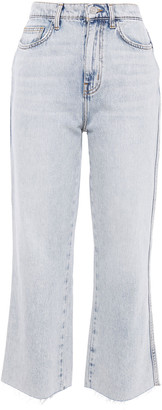 Current/Elliott The Femme Trettin Cut Cropped Distressed High-rise Wide-leg Jeans