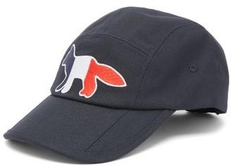 MAISON KITSUNÉ Tricolour Fox-patch Cotton-twill Cap - Navy