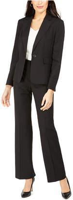 Le Suit Single-Button Pinstriped Pants Suit
