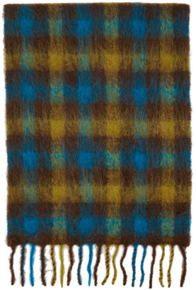 ANDERSSON BELL SSENSE Exclusive Blue and Brown Check Veneto Scarf