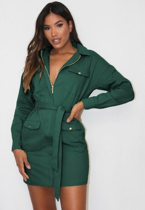 Missguided Green Utility Belted Shirt Dress