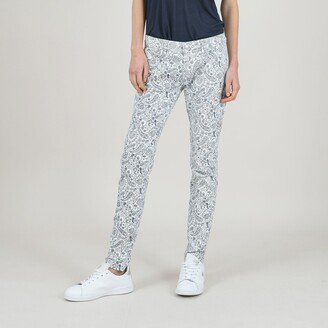 Molly Bracken Paisley Print Cotton Trousers in Slim Fit
