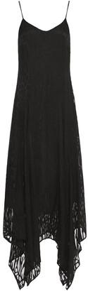 Just Cavalli Draped Burnout Chiffon Midi Dress