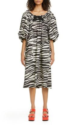 Dries Van Noten Damon Bubble Sleeve Zebra Print Midi Dress