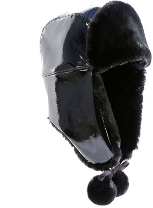 Eric Javits Faux Patent Leather Trooper Hat w/ Faux Fur Lining