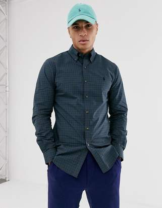 Polo Ralph Lauren slim fit stretch poplin shirt in blue check with player logo