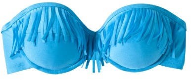 Xhilaration Juniors Fringe Bandeau Swim Top -Blue