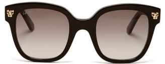 Cartier Eyewear - Panthere Square Acetate Sunglasses - Womens - Black Grey
