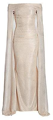 Talbot Runhof Women's Starburst Metallic Off-The-Shoulder Cape Gown