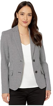 Lauren Ralph Lauren Petite Houndstooth Twill Blazer (Black/Silk White) Women's Clothing