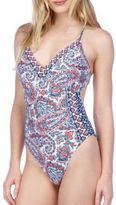 Lucky Brand Mixed Pattern One Piece Swimsuit