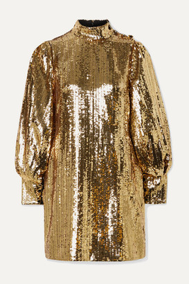 Borgo de Nor Lima Sequined Satin Mini Dress - Gold